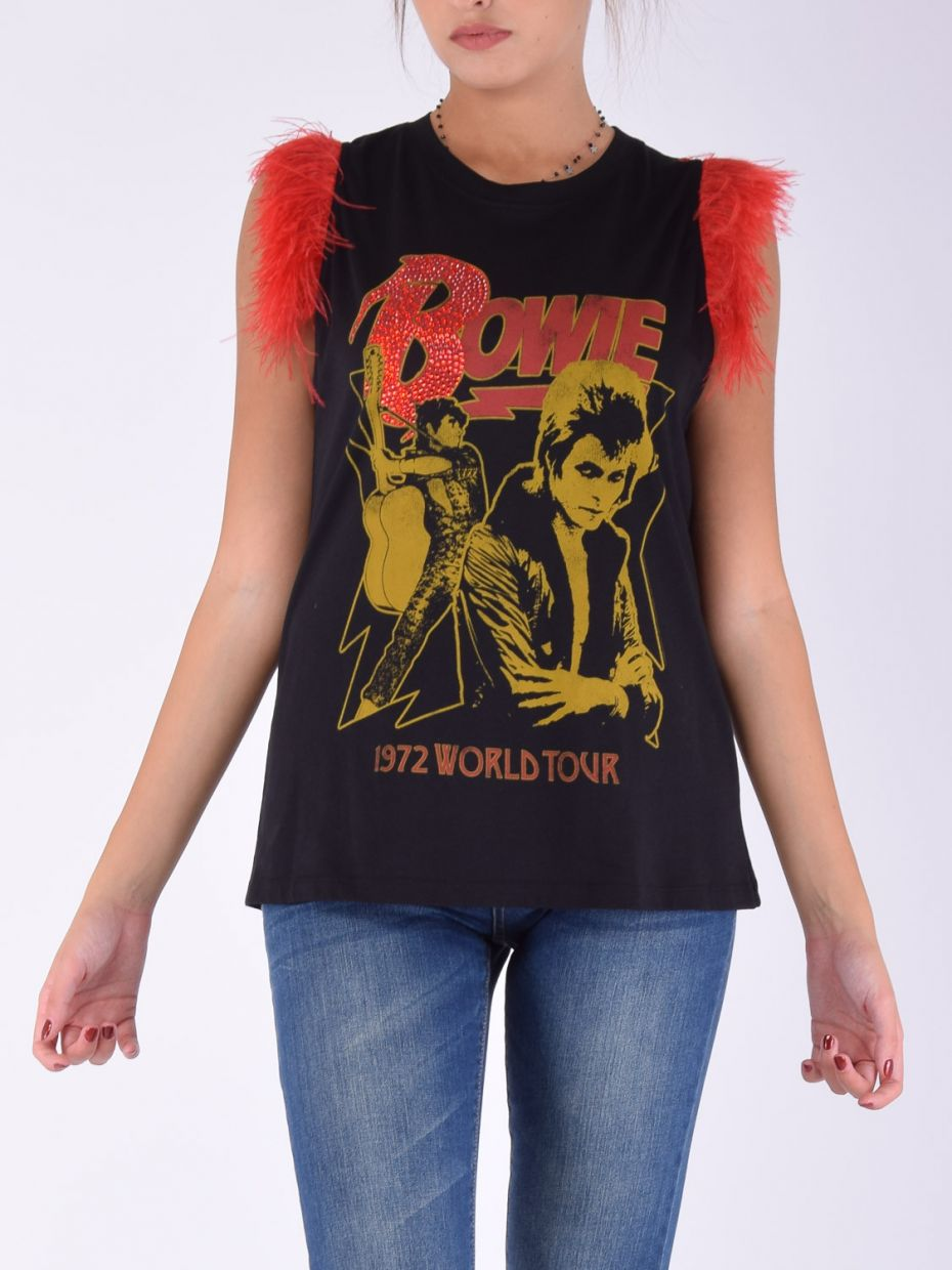 T-shirt bowie manica rosso nero