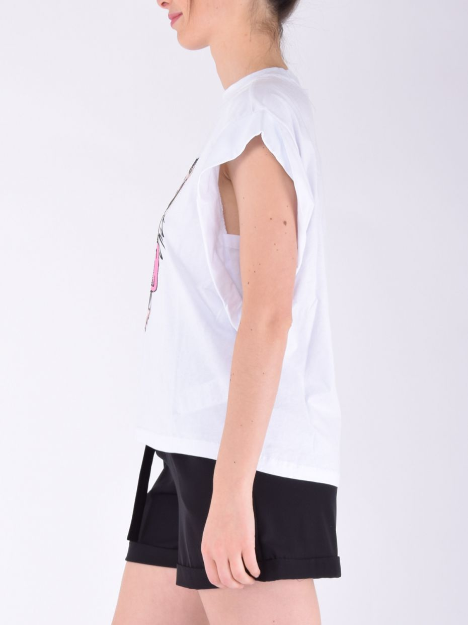 T-shirt over stampa tigre bianco