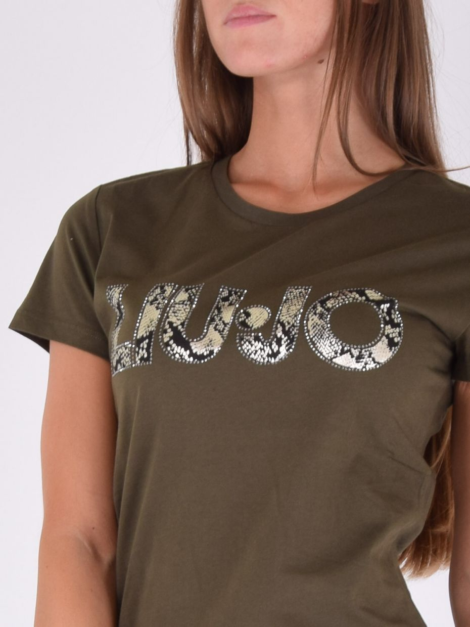 T-shirt stampa pitone s9209 army green